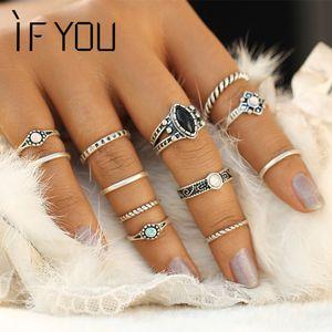 Toda la ventaIF USTED Vintage Boho anillo Set tibetano antiguo Artificial piedra Midi anillos conjuntos para mujeres moda Steampunk Anel Aneis joyería
