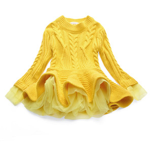 Boutique Mädchen Kleidung 2018 Neueste Baby Mädchen Pullover Strickkleid Langarm Spitze Jacquard Kleider Kinder Baumwolle Warme Mantel Outfits 7 Farben