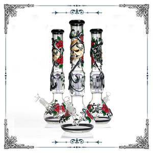 18 pouces en verre grand Bong 12 arbre perc main dessin crâne bécher modèle Rose Bong fumer pipe à eau en verre enivrant avec bol Livraison gratuite