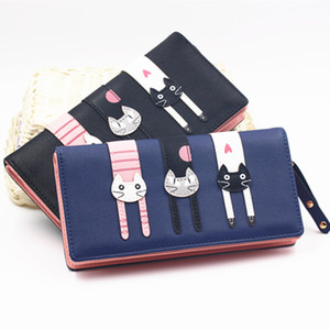 Nouveau mode Enveloppe femmes Wallet Cat Cartoon Wallet long Creative Femme Porte-cartes porte-monnaie portefeuille PU filles