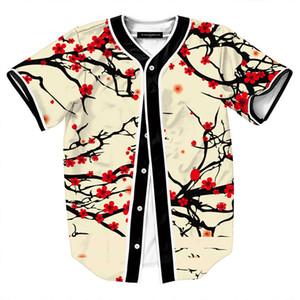 Estilo de verano Hipster Hip Hop camiseta Hombres Mujeres 3D Estampado floral camiseta Béisbol Jersey Street Casual con cuello en v Buon Down Tops