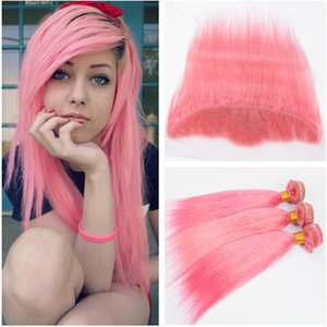 Peruvian Pink Straight Human Hair 3 번들 전 4 팩 로트 피어링 핑크 핑크 13x4 레이스 앞모마 매듭 버진 헤어 위브