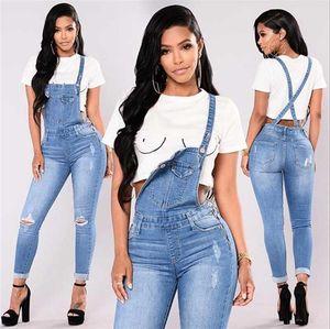 Yeni Kadın Tulum Kot Moda Manşetleri Kapriler Denim Jeans Ripped Rahat seksi bodysuit Ücretsiz Alışveriş