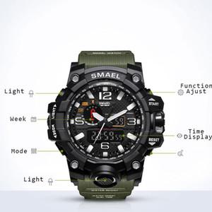 Partie hommes montre militaire 50m étanche montre-bracelet Led horloge à quartz montre de sport Homme Relogios Masculino 1545 Sport S choc Montre Hommes