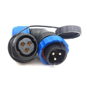 SD20 3pin Waterproof Power Cable Connector, 25A 250V Right Angle High Voltage Electronic Aviation Connectors, IP68 LED Power Plug Socket