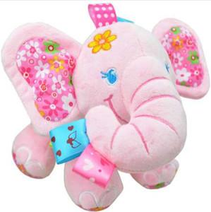 Sozzy Baby Toys Music Pull Rattles Multifuncional Elefante Niños Anillo de campana de papel Cama de coche Colgando de cochecitos Juguetes rosa azul