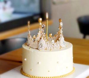 레트로 바로크 수제 크리스탈 여왕 여왕 왕관 새로운 라운드 신부 왕관 케이크 장식