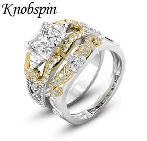 Pfeil des Amor Plaqué Farbe Zircon Ring für Frauen-Mädchen-Pfeil und Bogen Zwei Ton Ehering Set Schmuck bague femme