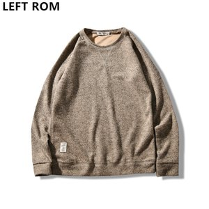 LEFT ROM 2018 fashion for men Pull en maille à col rond / Manches longues homme de couleur unie Affaires Pulls de loisir