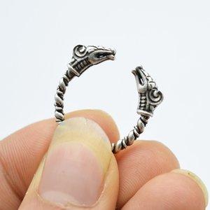1 pcs Antique Argent Viking Anneau Pour Hommes Réglable Dragon Anneaux Norrois Vikings Mythologie Bijoux RG12