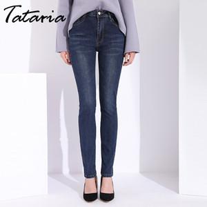 Tataria Женские джинсы с высокой талией стрейч джинсовые узкие джинсы Женские плюс размер джинсовые брюки карандаш мама зима для женщин