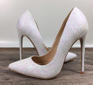 New lady tacchi alti marchio esclusivo brevetto PU scarpe paillettes modelli femminili tacchi alti 8 cm 10 cm 12 cm bocca superficiale con un singolo scarpe 35-44