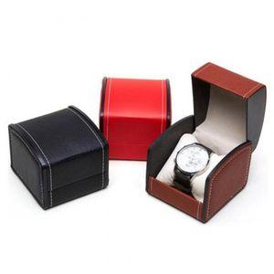 Один слот сетки PU кожаный часы витрина организатор подарочная коробка наручные часы коробка для хранения подарок