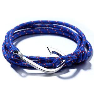 A mano braccialetto intrecciato nuovo modo uomini fascino del nastro / Gold Fish Hook braccialetto Maschio Wrap Sport Colorful all'ingrosso