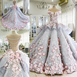 Luxury Quinceanera Prom Ball Gown Dresses 3D Floral Lace Applique Cap Sleeves Sweet 16 Floor Length Sheer Back Puffy Party Evening Gowns