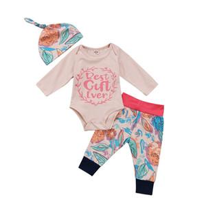 الاطفال ملابس أفضل هدية ever الوليد طفل طفلة ملابس طويلة الأكمام قمم رومبير السراويل الأزهار قبعة 3 قطع وتتسابق 2018 ربيع الخريف مجموعة