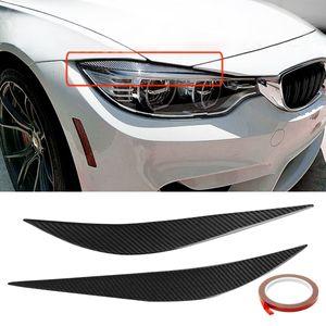 Углеродного волокна передняя крышка глаза крышка пара бровей отделка крышка автомобильные аксессуары стайлинг фары для BMW 2014-2017 F80 м3 F82 F83 M4