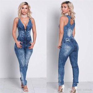 Femmes denim salopette pantalon Romper manches dos sexy en creux siamoises skinny jeans femmes jeans mode sexy casual pantalon