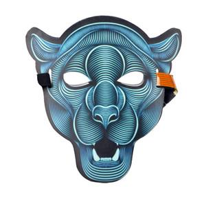 Commercio all'ingrosso 1 Pz LED Maschera incandescente Adulti Full Face Sound Control Mask Halloween Horror Night Party Smorfia Cranio Clown Lion