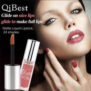 Plus récent Qibest Brillant à Lèvres Bâton Charmant Mat Rouge À Lèvres Liquide Glisse sur de belles lèvres longtemps Hydratant 24 Couleurs