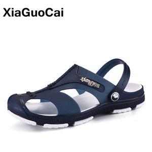 XiaGuoCai 2018 летние мужские тапочки, скольжения на Садовая обувь, дышащие мужские сандалии, плюс размер мужской пляжная обувь шлепанцы
