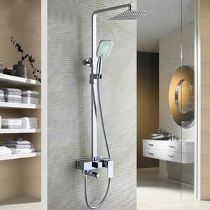 """Chrome salle de bains robinet de douche avec 8"""" Ultrathin pomme de douche et baignoire Douchette pivotant Robinet Ajuster la hauteur"""
