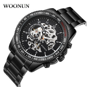 WOONUN Men Mechanical Watches Black Stainless Steel Automatic Self Wind Skeleton Wrist Watches For Men Military Sports Watch C18111601