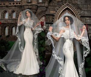 2019 elegantes velos de novia apliques de encaje 3 m de largo una capa de longitud de la catedral Voiles de mariage Personalizada velos de novia de alta calidad