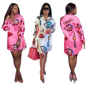 Nueva camisa de las mujeres Vestido de estampado floral Camisa de Graffiti Posicionamiento Botón de impresión Vestido de un solo paso Blusas tops para el otoño