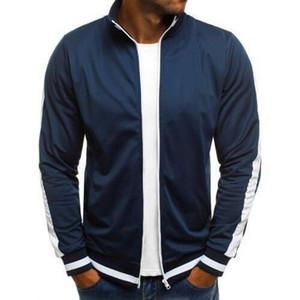 Оптовая мужская Бейсбол куртки уличная сплошной цвет стрейч Куртка для мужские куртки и пальто Zip мужской моды повседневная куртка