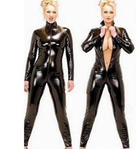 2016 Hot Sexy Black Catwomen Jumpsuit PVC Spandex Latex Catsuit Costumes for Women Body Suits Fetish Leather Dress Plus Size XXL