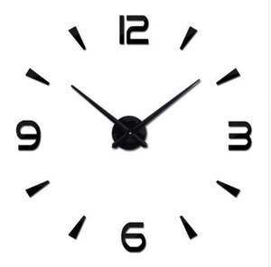 패션 거실 아크릴 +에 바 3 차원 벽 스티커 시계 DIY 대형 벽시계 홈 인테리어