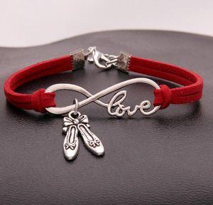 Vintage Silver LOVE Infinity Dance Shoes Charms Bracelet Bangle For Men Women Mixed Color Velvet Rope Cuff Bracelets Jewelry 20PCS