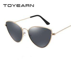 TOYEARN Vintage Sexy Ladies Cat Eye Sunglasses Women Fashion Clear Red Eyewear Metal Frame Sun Glasses For Female UV400