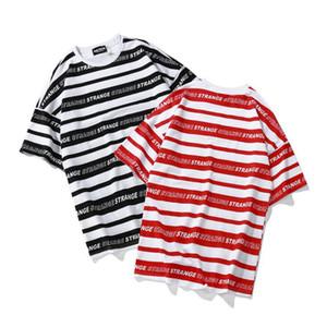 Summer Men Striped Full Letter Printed Short Sleeve T Shirts Harajuku Hip Hop Casual Cotton Streetwear Fashion Swag Tshirts