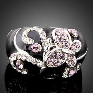 Nuevas mujeres de la llegada joyería de moda cristales de aleación de diamantes gotas de aceite anillo de mariposa Amor día de San Valentín regalo del festival de Navidad
