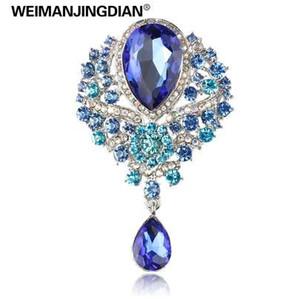 WEIMANJINGDIAN grande de cristal en forma de lágrima Diamante diamantes de imitación boda Broche en colores surtidos