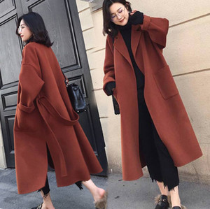 벨트와 블랙 여자 코트 여분의 긴 대형 모직 코트 외투 겉옷 여자 겨울 유행을 좇는 재킷 코트를 따뜻하게
