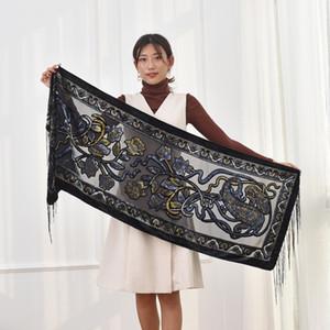 Brand New Winter-Schal-Frauen-2018 Burnout Velvet Schal Cashew Blumen Muslim Hijab Damen Ponchos Geschenk für Geliebte
