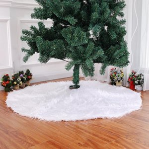 Adornos de árbol de Navidad Long Snow Plush Christmas Tree Skirt Base Floor Mat Cover XMAS Ornamento de santa claus deer