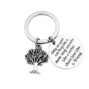 Silver Round Life Tree Keychain Solo una zia può abbracciare come una mamma Tieni segreti come una sorella Condividi Amore come un amico