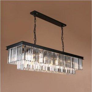 Modern Rectangular Lustre Araña de Cristal Iluminación Lámparas de Cristal Luminaria De Techo Accesorios de Iluminación de Hanglamp Para la sala de estar