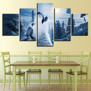 Leinwand-Wand-Kunst-Ausgangsdekor HD Drucke 5 Stück Waldtier Snow Wolf Howl Gemälde für Wohnzimmer Bilder Rahmen