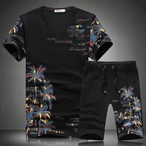 Yeni Yaz Kısa Setleri Erkekler Erkekler için Rahat Hindistan Cevizi Ada Baskı Suits çin Tarzı Takım Elbise Setleri T Gömlek ve Pantolon Tasarımcı Eşofman Hotsale