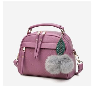 2020 new trend female bag hair ball pendant leather handbag shoulder bag