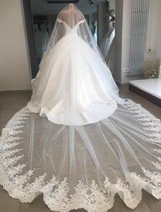 2018 Real Photo One Layer Bianco 3m Velo nuziale da sposa Bordo in pizzo Avorio da sposa lungo Velo da sposa per abito da ballo