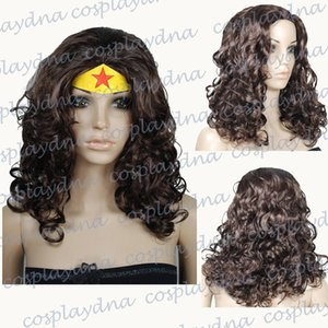 Free shipping>>> Wonder Woman Black Cosplay Wigs Halloween Curly Anime Wigs