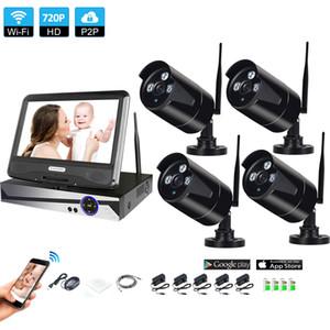 "Wi-Fi системы видеонаблюдения сети 10.1 "" ЖК-монитор NVR рекордер WiFi Kit 4ch 960p HD видео входы камеры безопасности"
