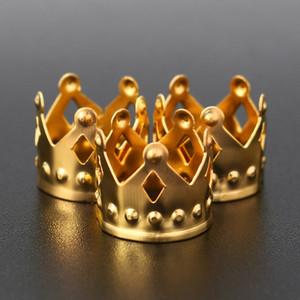 100 unids Metal Braid Dread Dreadlock Beads Corona ahueca hacia fuera el diseño ajustable del pelo Puños Clips Anillo tubo joyería de oro 12x10mm