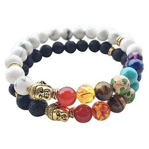 Nouveau Naturel Noir Pierre De Lave Bracelets 7 Reiki Chakra Guérison Équilibre Perles Bracelet pour Hommes Femmes Stretch Yoga Bijoux